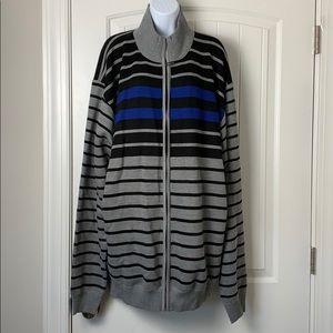 True Rock mock neck stripe zip up sweater